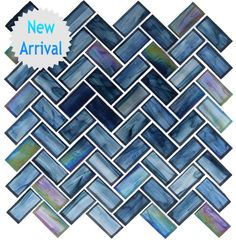 Oceania Herringbone Glass Tile - Cobalt Sea