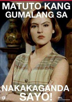 Pati ikaw pla senyora ah! Tagalog Quotes Hugot Funny, Hugot Quotes, Tagalog Love Quotes, Memes Pinoy, Pinoy Quotes, Bisaya Quotes, Patama Quotes, Smile Quotes, Filipino Quotes