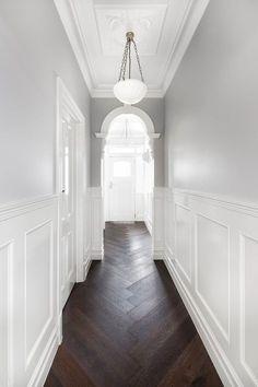 Epsom Residence - Kustom Timber & Leilah and Lyla Home Parquetry Floor, Victorian Hallway, Victorian Terrace, Hallway Designs, Hallway Ideas, Herringbone Wood Floor, Hallway Inspiration, Dark Wood Floors, Grey Floorboards