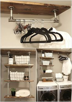 """Outstanding """"laundry room storage diy shelves"""" info is offered on our web pages. Have a look and you wont be sorry you did. Laundry Room Storage, Laundry Room Design, Diy Storage, Storage Ideas, Plumbing Pipe Shelves, Pipe Decor, Laundry Room Inspiration, Pipe Furniture, Furniture Vintage"""