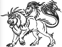 Chimera - creature that comprise a lion, a goat and a snake.  Similar to Cerberus, Chimera parents were Typhon and Echidna. In the literature, Chimera is often depicted as a female creature, that is capable of breathing fire.