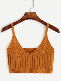 Brown Knit Crop Cami Top