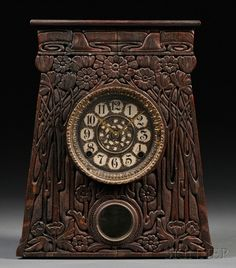 Artisan Arts & Crafts Movement Mantel Clock Oak, metal : Lot 80