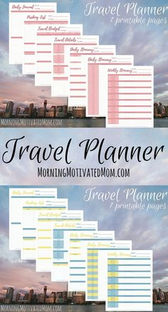 Travel Planner Printables. Travel Details, Weekly Itinerary, Packing List, Daily Journal, Travel Budget, Daily Itinerary,