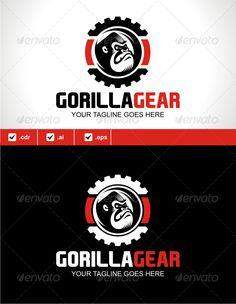 Gorilla Gear Logo Design Template Vector #logotype Download it here: http://graphicriver.net/item/gorilla-gear/5182620?s_rank=329?ref=nexion