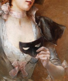 Pinchart. Detail from Lady with Mask, 19th Century.