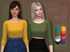 Trillyke: Cropped Sweater • Sims 4 Downloads