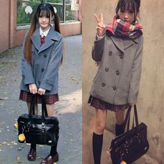 Japanese cute student uniform woolen coat