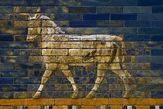 Detail of the Babylonian Ishtar Gate depicting the Akkadian Adad (from the god Ishkur in Sumerian), the storm or weather god.