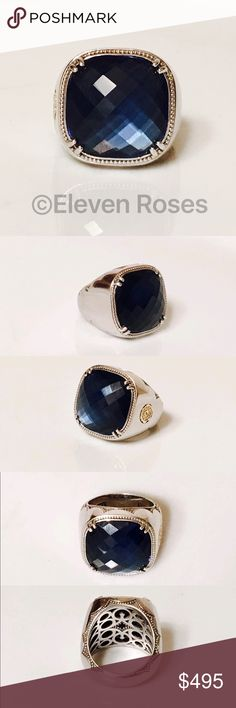 Tacori City Lights Blue Quartz Cushion Gem Ring Tacori 'City Lights' Cushion Gem Ring - 925 Sterling Silver & 750 18k Gold - Blue Quartz Cushion Gemstone Over Hematite - Approx 13.60 Gemstone CTW -  US Size 6.5 -  Excellent Pre-owned Condition - Listing Images Are Of The Actual Item Being Offered.   An Extra Large Statement Ring Tacori Jewelry Rings