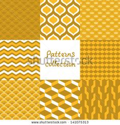 Abstract art deco geometric seamless patterns set in shades of gold, vector - stock vector
