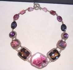 Stephen Dweck Signed OOAK $10,000  Pink Tourmaline Star Ruby Bronze Necklace #StephenDweck #Choker Stephen Dweck, Real Real, Consignment Shops, Pink Tourmaline, Chokers, Bronze, Pendants, Pendant Necklace, Gemstones