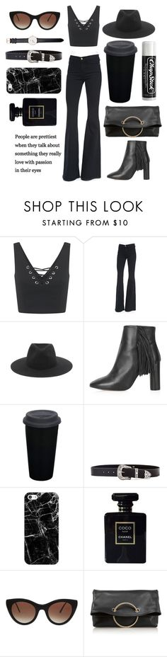 """""""Black babe"""" by chicken-n-gold-nuggetz ❤ liked on Polyvore featuring Miss Selfridge, Frame Denim, rag & bone, Topshop, B-Low the Belt, Chapstick, Casetify, Chanel, Thierry Lasry and Victoria Beckham"""