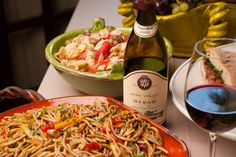 V. Sattui's own Thai Noodle Salad with our Napa Valley Syrah