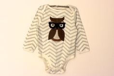 Geek Baby Owl Onesie  Hand Stitched  Hipster by OliveandFriends, $22.00