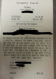 "A pizza bill from ""Toppers Pizza"" in Fort Worth, TX, with some very specific delivery instructions for the pizza guy.  [Source: Imgur 