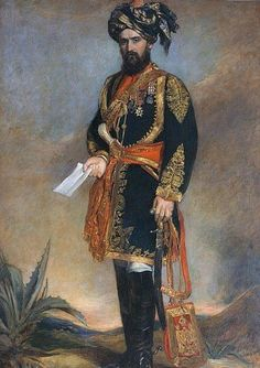 """leradr: """" Colonel (later General Sir) Dighton MacNaghten Probyn CB, VC, and Honorary ADC to the Viceroy of India and HM's Indian Cavalry, 1867 By James Rannie Swinton Oil on canvas, Military Art, Military History, Military Uniforms, Bengal Lancer, Uk History, British Colonial, Colonial India, Indian Army, British Indian"""