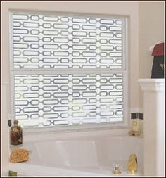 Bathroom window with Avalon Decorative Window Film