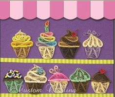 "Quilled Creations Cupcake Bakery Quilling Kit @ Custom Quilling Supplies - This cute kit shows how to make a whole bakery full of cupcakes! They are perfect for any gift tag, card or scrapbook. Includes instructions and 1/8"" quilling paper. www.customquilling.com"