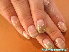 Reverse French nail art stars and studs in the border pattern    ボーダー柄に星とスタッズのアートの逆フレンチネイル