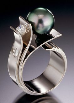 Adam Neeley - 'Flower of the Sea' - Tahitian Pearl & Diamond Ring in 14kt White Gold