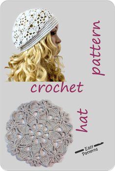 The garden hat Pattern Crochet Beret Pattern, Cotton Crochet Patterns, Crochet Hat Tutorial, Crochet Snood, Crochet Adult Hat, Crochet Summer Hats, Crochet With Cotton Yarn, Crochet Hat For Women, Loom Band Patterns
