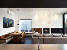 love the linear lines here. picture window + casual / modern seating & eating area