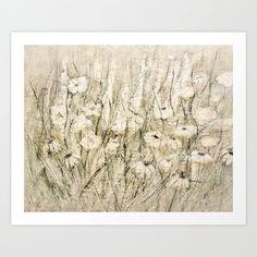 white Flower Art Print by Lamade - $15.60