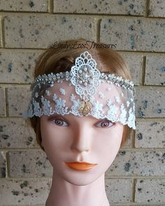 Vintage 20's Gatsby Style Lace Bridal Headband Headpiece Bridal Headbands, Gatsby Style, Roaring 20s, Bridal Lace, Headpieces, Art Deco, Hair Accessories, Trending Outfits, Unique Jewelry