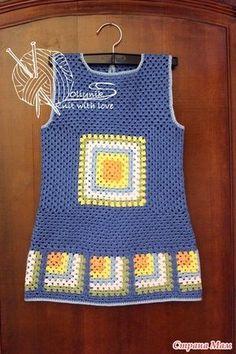 Crochet Baby Dress Pattern, Baby Dress Patterns, Granny Square Crochet Pattern, Afghan Crochet Patterns, Crochet Granny, Crochet Baby Sweaters, Crochet Jumper, Crochet Baby Clothes, Crochet Blouse