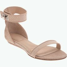 nude flat sandal with ankle strap