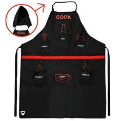 Arnott's Multi Pocket Man Apron With Removable Hood Black