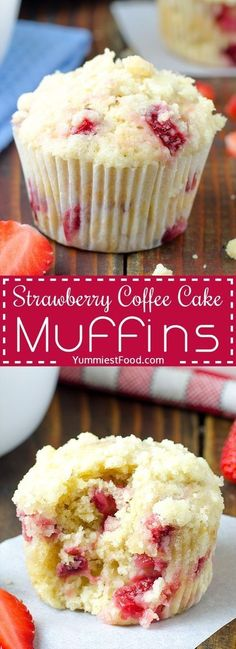 STRAWBERRY COFFEE CAKE MUFFINS Easy and delicious Strawberry Coffee Cake Muffins the perfect muffins to make during strawberry season. Great with a cup of good coffee! The post Strawberry Coffee Cake Muffins appeared first on Win Dessert. Strawberry Coffee Cakes, Strawberry Muffins, Strawberry Recipes, Muffins Au Café, Coffee Cake Muffins, Breakfast Muffins, Mini Muffins, Coffee Cupcakes, Carrot Muffins