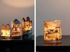 Print pictures from the internet of old buildings. Cut around the roof line. Tape around a jar or glass cylinder & add a tea light inside.