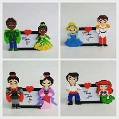 Frames Disney couples perler beads by burritoprincess