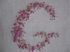 Vintage Ladies Handkerchief Hand Embroidery Monogram Letter G. $48,00, via Etsy.
