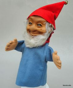 Vintage #Steiff Germany Gucki #Dwarf Felt Mohair Plush Rubber Hand #Puppet 17 cm no ID 1960s