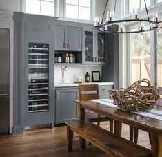 California Modern Farmhouse Renovation - Home Bunch Interior Design Ideas Kitchen Cabinet Styles, Kitchen Cabinetry, Kitchen Dining, Cabinets, Small Sitting Areas, Shower Floor Tile, Farmhouse Renovation, Dining Room Furniture, Dining Rooms