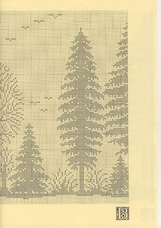 Irish lace, crochet, crochet patterns, clothing and decorations for the house, crocheted. Cross Stitch Tree, Cross Stitch Flowers, Cross Stitch Charts, Cross Stitch Patterns, Crochet Patterns, Filet Crochet Charts, Knitting Charts, Crochet Curtains, Crochet Doilies