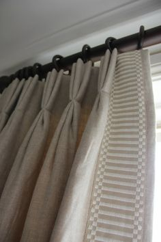 Vertical banding on pinch pleat drapery curtains Pleated Curtains, Window Drapes, Curtains With Blinds, Window Coverings, Window Treatments, Valances, Curtain Headings, Drapery Designs, Drapery Ideas