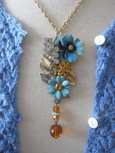 Vintage Jewelry Assemblage Pansy Flower Garden Necklace OOAK Cluster Collage Necklace This Gorgeous Floral Garden is an array of Vintage Jewelry