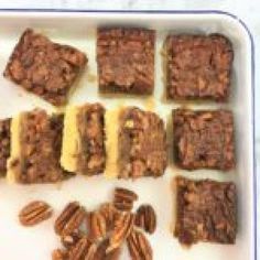 Butter Pecan Slice - Melt & Mix - a tender & crumbly shortbread base with a simple topping of butter, brown sugar & pecan goodness. Date Slice, Date Scones, Easy Date, Peach Sorbet, Sugared Pecans, Date Recipes, Butter Pecan, Baking Tins
