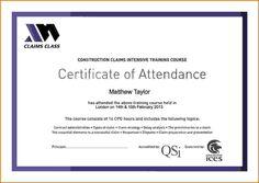 Certification Of Attendance  Certificate Template