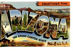 Large Letter Linen-Greetings from Arizona-LLL-Grand Canyon-Vintage Postcard