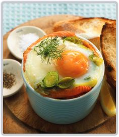 Baked Eggs with Smoked Salmon, Dill and Buttered Leek