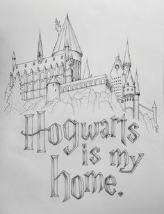 Hogwarts is my home drawing. - Harry Potter World 2020 Harry Potter Tumblr, Dobby Harry Potter, Harry Potter Kawaii, Harry Potter Kunst, Harry Potter Drawings Easy, Harry Potter Sketch, Harry Potter Facts, Harry Potter Love, Harry Potter Characters