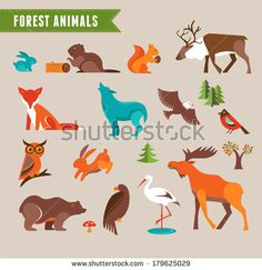 Forest animals vector set of icons and illustrations - stock vector