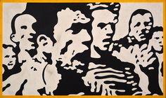 "Claudio Tozzi, Multidão (Crowd), 1968, industrial paint on Duratex, 30 x 51"".  From ""Claudio Tozzi"" on artforum.com"