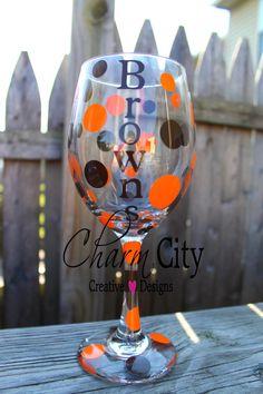 Cleveland Browns Personalized Wine Glass 20 oz Christmas, Sports, Holidays, Bridal, Wedding on Etsy, $12.00