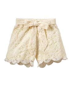 RUUM Cream Scalloped Lace Shorts - Infant, Toddler & Girls | zulily